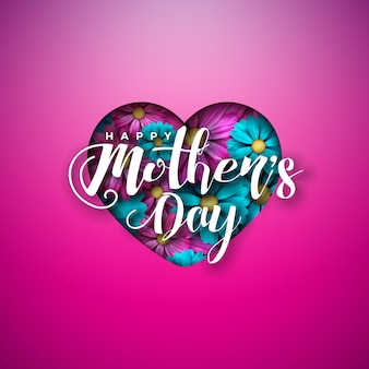 Happy mother's day greeting card design with flowers in heart and typography letter on pink background.
