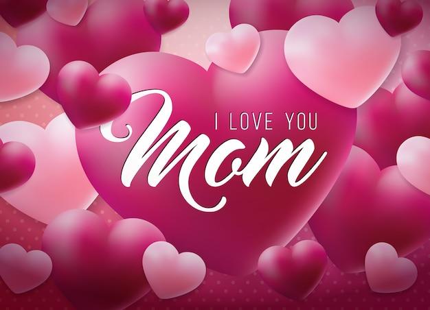 Поздравительный дизайн поздравительных открыток с сердцем и love you mom типографические элементы
