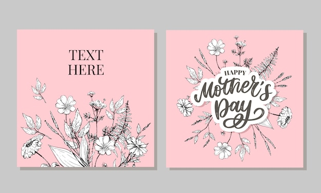 Happy mother's day greeting card   illustration. hand lettering calligraphy holiday background in floral frame.