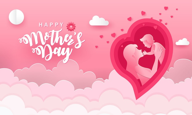 Happy mother's day. greeting card illustration of mother and baby inside paper cut pink heart shape