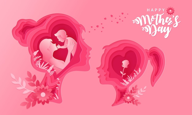 Happy mother's day. greeting card illustration of mother and daughter in paper cut out style