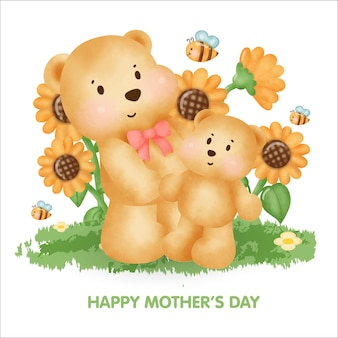 Happy mother's day greeting card with cute teddy bear and her baby .