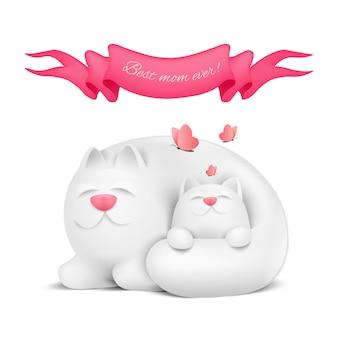 어머니 고양이와 작은 키티 해피 어머니의 날 인사말 카드