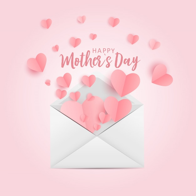 Happy mother's day greeting card with paper origami hes background.  illustration
