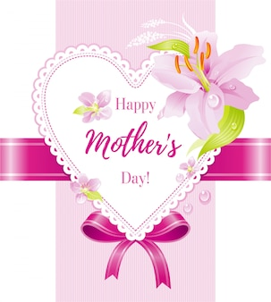 Happy mother's day greeting card with pink lily flower and heart.