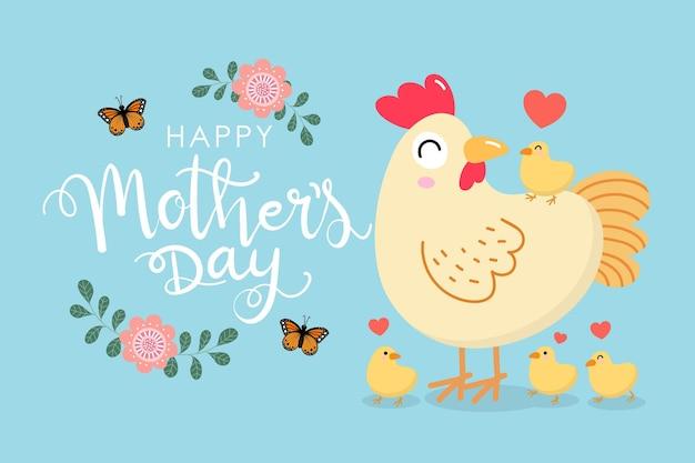 かわいい鶏とひよことの幸せな母の日の挨拶