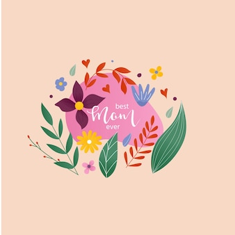 해피 어머니의 날 - 꽃과 함께 손으로 그린 서예 문구. 카드, 포스터, 배너, 스크랩북, 가정 장식을 위한 휴일 레터링. 벡터 잉크 그림입니다.