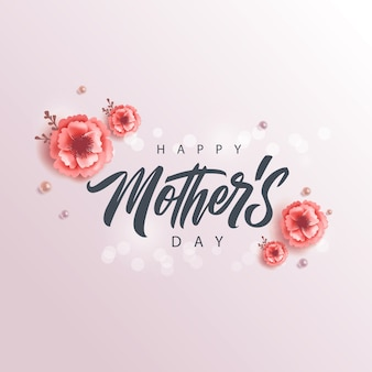 Happy mother's day handwritten lettering, greeting card