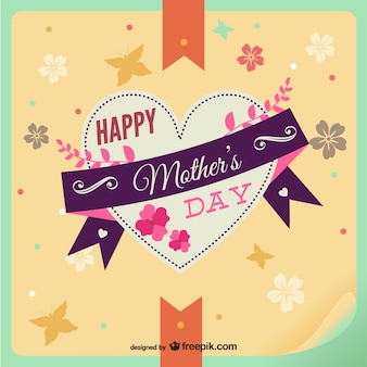 Happy mother's day heart floral card
