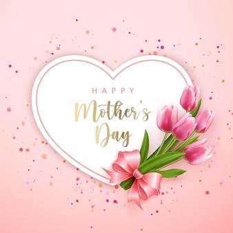 해피 어머니의 날 심장 모양 카드 배너 핑크 우아한 튤립 꽃과 귀여운 리본