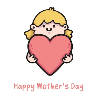 Happy mother's day illustration child hugging heart