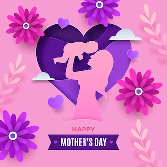 Happy mother's day illustration in paper style