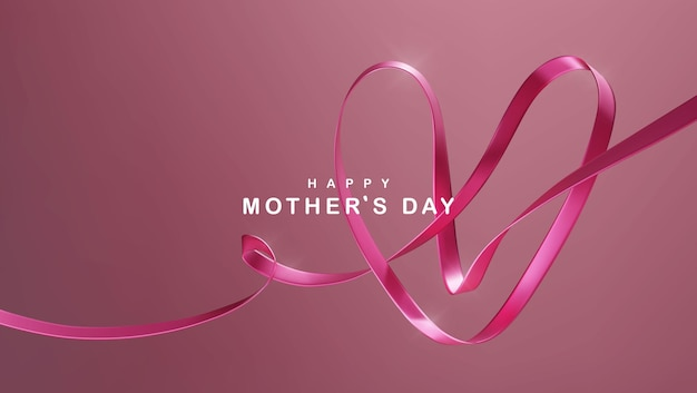 Happy mother's day illustration with pink heart shaped ribbon