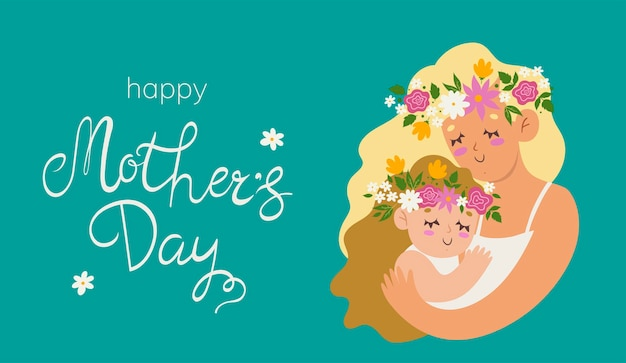Happy mother's day  illustration with a woman and a child