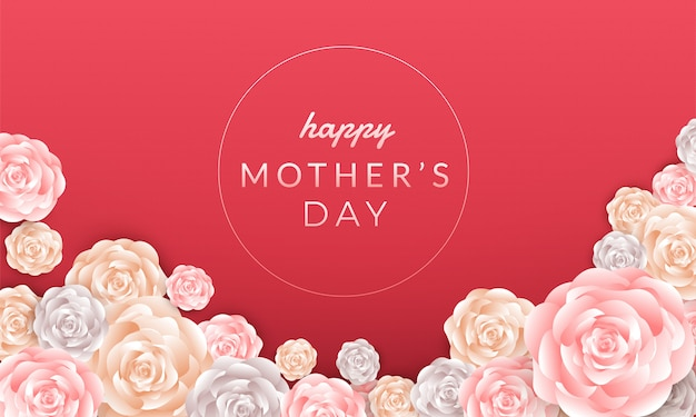Счастливый день матери макет с розами, надписи, вырезать из бумаги и текстуру фона. иллюстрация.