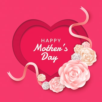 Happy mother's day layout  with roses, lettering, paper cut and texture background.  illustration.