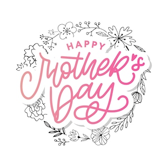 해피 어머니의 날 글자. 꽃 화 환과 어머니의 날 카드
