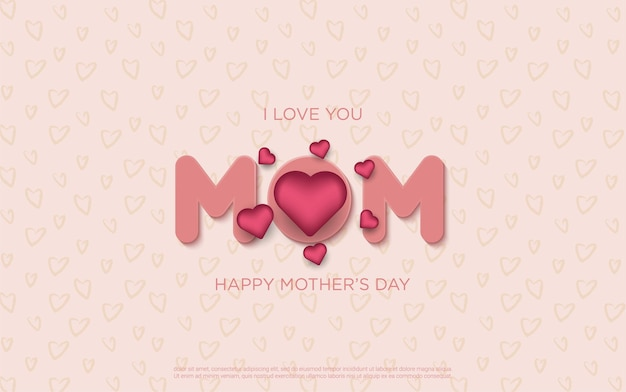 Happy mother's day letters with realistic floral