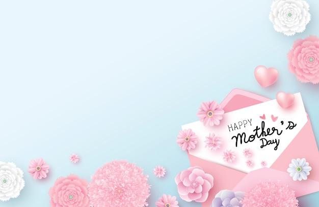 白い紙の上の幸せな母の日メッセージ
