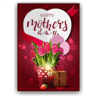 Happy mother's day, modern red congratulations postcard