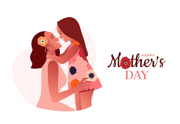 Happy mother's day. mom hugs her daughter. mom's love