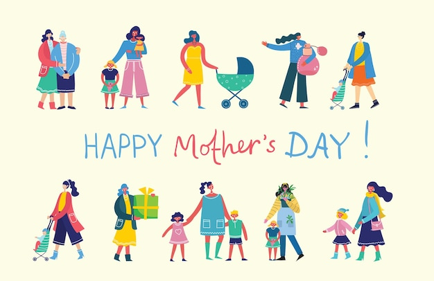 Happy mother's day . mothers with the children in the flat design.