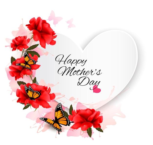 色とりどりの花と蝶の幸せな母の日ノート。ベクトルの背景。