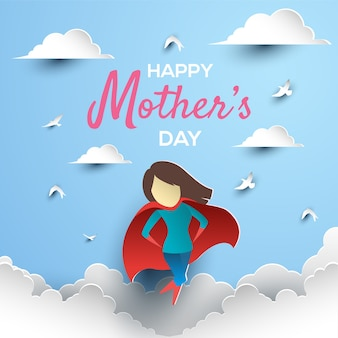 Happy mother's day paper art with superhero mom