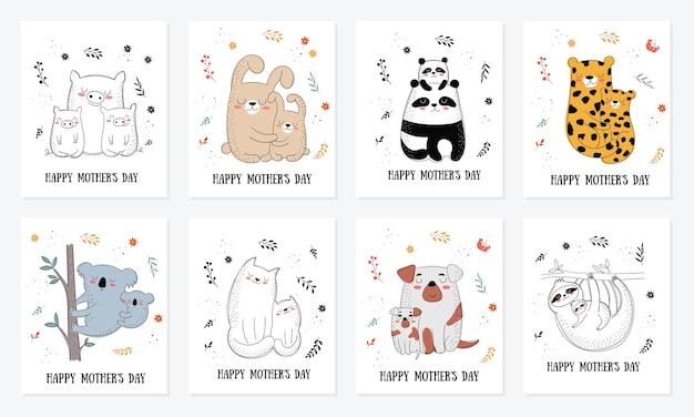 С днем матери коллекции открыток. векторные иллюстрации шаржа каракули. мама кота с ребенком. идеально подходит для открыток, этикеток, брошюр, флаеров, страниц, баннеров.
