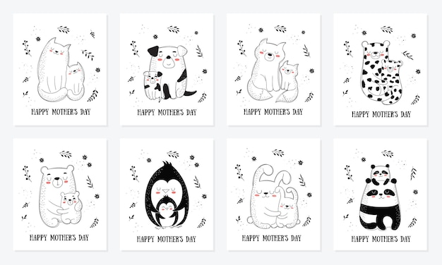 Happy mother's day postcard collection. vector cartoon doodle illustrations. mom cat with a child. perfect for postcard, label, brochure, flyer, page, banner design