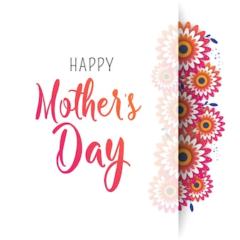 Happy mother's day poster with bright flowers.