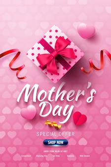 Happy mother's day sale banner with gift box and sweet heart on pink