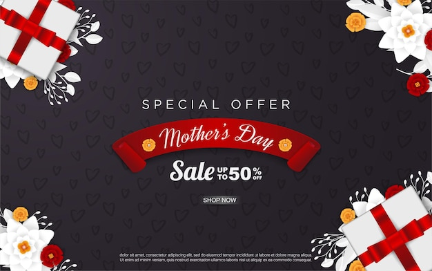 Happy mother's day sale with realistic gift box and floral