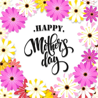 Happy mother's day in spring flower background