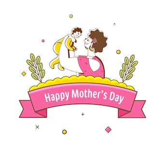 Happy mother's day text ribbon with doodle style woman holding her baby on white background.