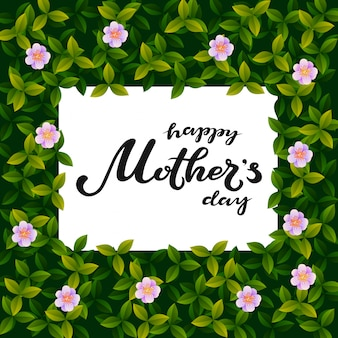 Happy mother's day typography lettering poster on realistic floral frame vector background.