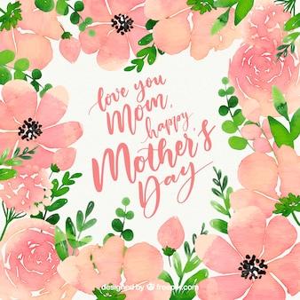 꽃과 함께 해피 어머니의 날 수채화 배경