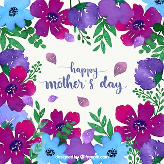 Happy mother's day watercolour background with flowers