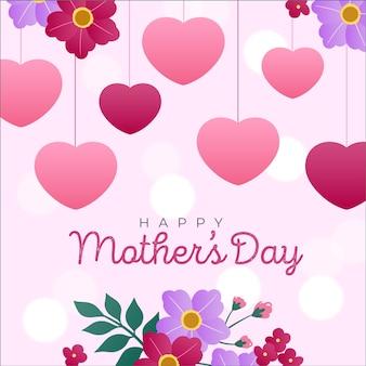 幸せな母の日の水彩心と花