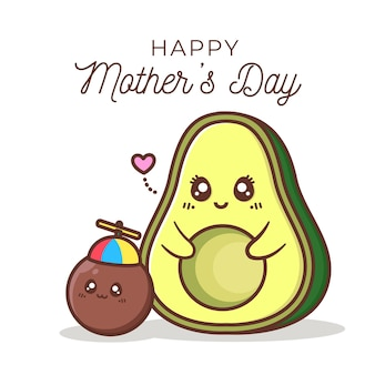 Happy mother's day with avocado character
