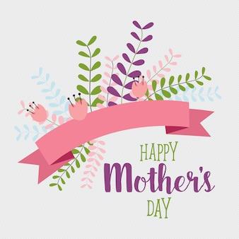 Счастливый день матери с букетом и лентой Бесплатные векторы