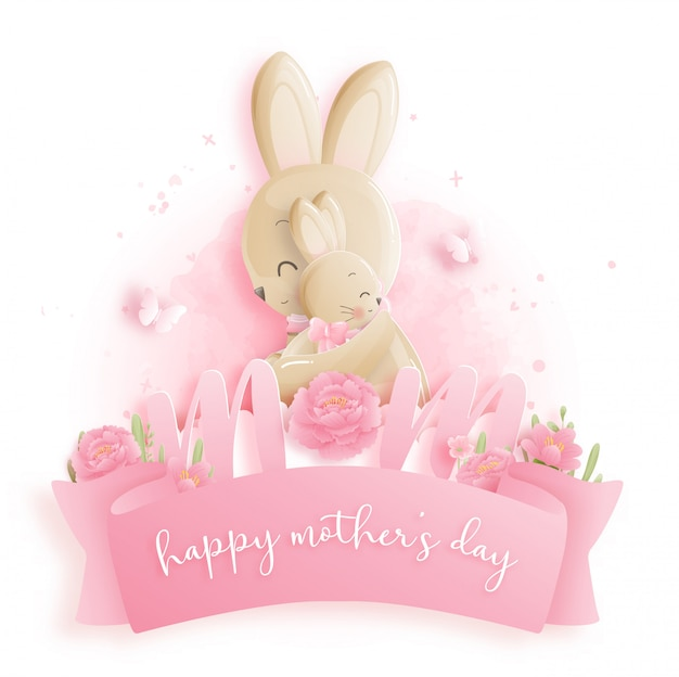 Happy mother's day with bunnies.