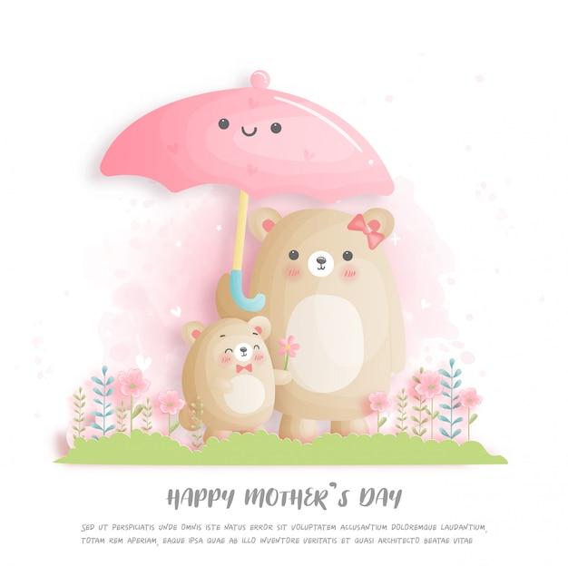 Счастливый день матери с милый медведь мама и ребенок.