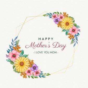 Happy mother's day with floral frame