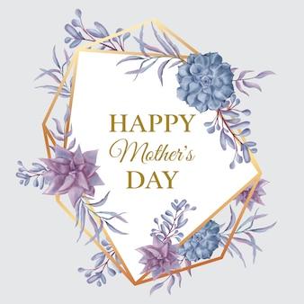 花のゴールドフレームと母の日おめでとう