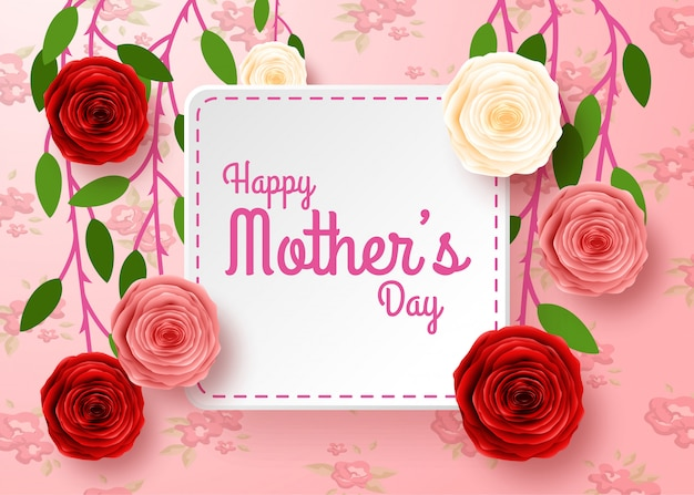 Happy mother's day with flowers background