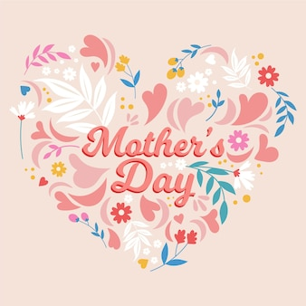 Happy mother's day with flowers and hearts