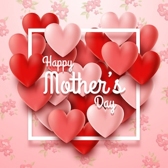 Happy mother's day with hearts and flowers background