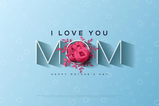 붉은 꽃으로 자란 편지 o의 일러스트와 함께 해피 어머니의 날.