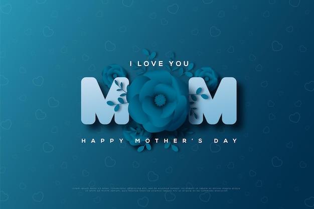 장미 모양의 문자 o와 함께 해피 어머니의 날.